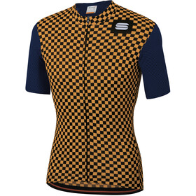 Sportful Checkmate Maillot de cyclisme Homme, blue twilight gold
